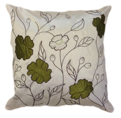 LARGE FLORAL DESIGNER FAUX SILK STYLISH FILLED CUSHION LIME GREEN & CREAM COLOUR